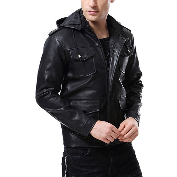 Motorcyle Biker Jackets Hoodies Leather Clothing For Men Autumn Outwear Coats Leather Jackets Plus Size M-4XL5XL 2018 Free Shipping