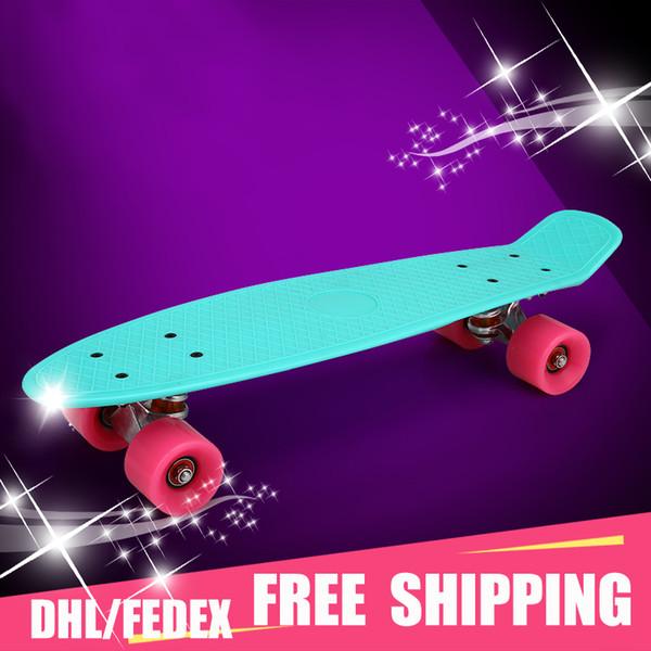 "Adult children's scooter skate board 22""Pastel Color Original Long Board Skateboard Boy Girl Retro Cruiser Skateboard"
