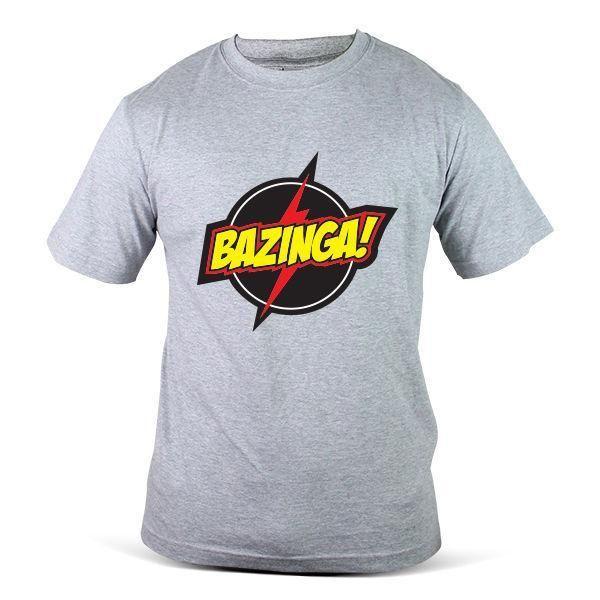 2920-GY The Big Bang Theory Bazinga Flash Sheldon Cooper Grey Mens Tee T-Shirt