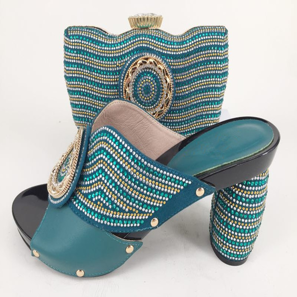 Dark Green African shoe and bag set high heel shoes Italian with matching best selling ladies shoes and handbag Summer Sandals