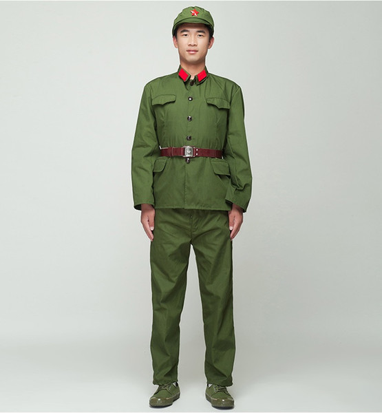top popular North Korean Soldier Uniform Red guards green performance costume stage film television Eight Route Army Outfit Vietnam Military 2021