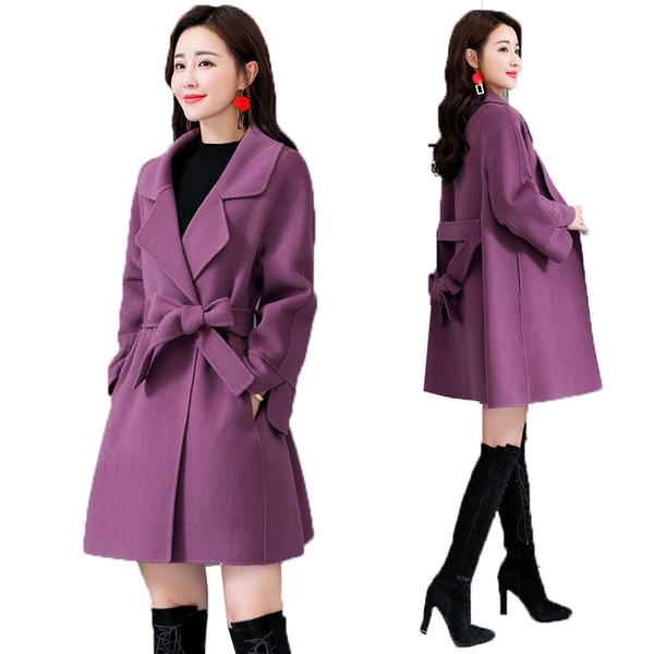 Winter woolen Coat Female Wool Jacket Coats Women Fashion Loose With Belt Long Sleeves High Quality Ladies Overcoat