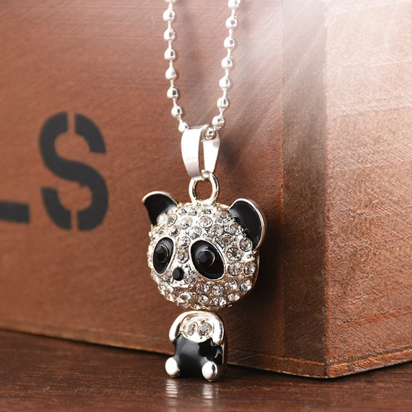 Pretty Enamel Silver Rhinestone Panda Pendant Necklace Women Crystal Accessories Long Sweater Necklaces Jewelry Free Shipping