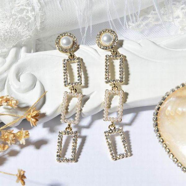 Women Elegant Geometric Square Rhinestone Long Earrings For Women Fashion Party Accessories Simulated Pearl Dangle Earrings