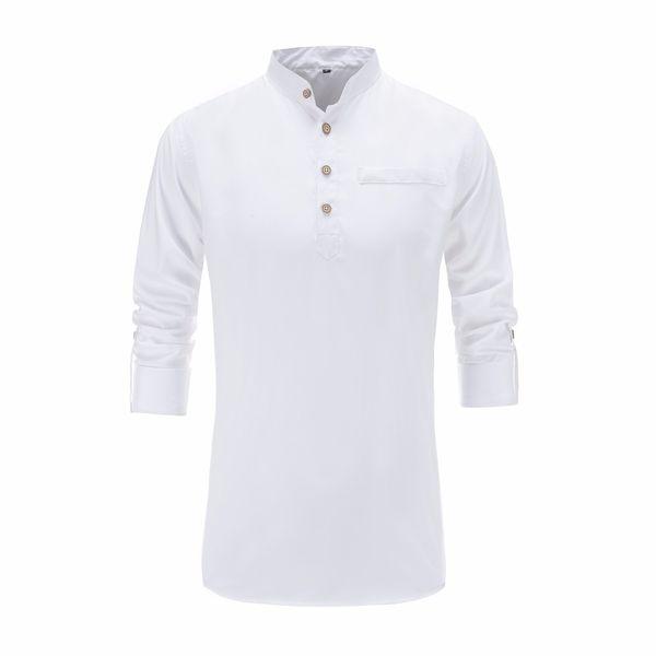 2018 Summer Men Cotton Shirt Long Sleeve Mandarin Collar Slim Fit Shirt Mens Breathable Chinese Style Dress Shirts Men Clothes