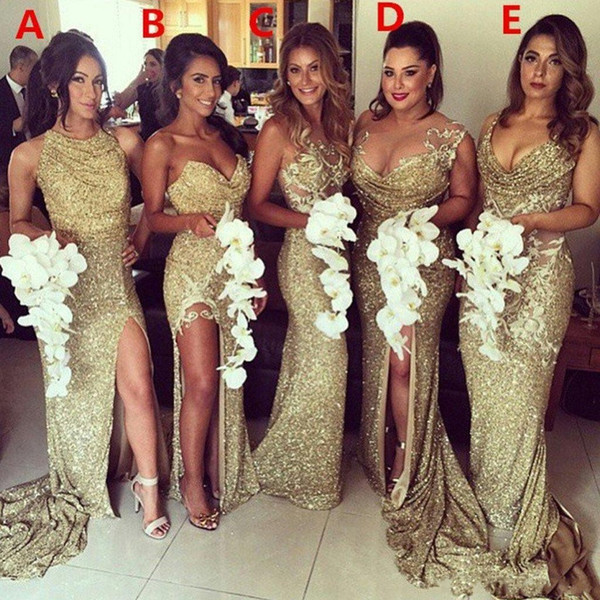 Gold Sequined Bridesmaids Dresses for Wedding Long 2018 Sparkly Sexy Side Split Mermaid 5 Styles Prom Party Gowns Formal Evening Wear