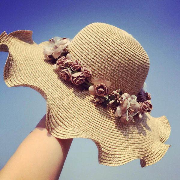 Hot Sale Korean Straw Sun Hats For Women Girls Cap Anti-UV Beach Summer Floppy Cap For Ladies Flower Straw Hat With A Wide Brim D18103006