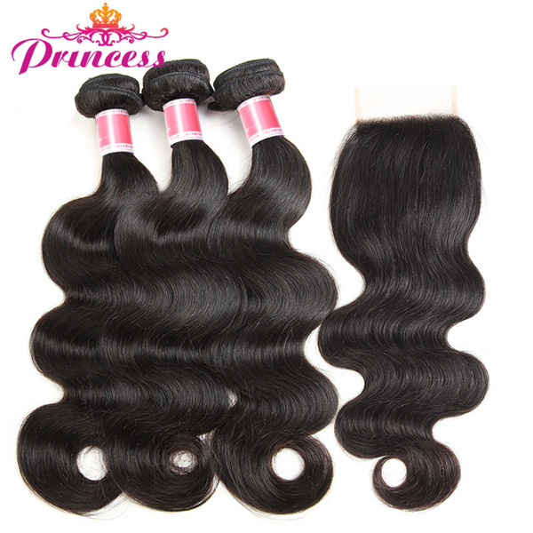 Beautiful Princess Hair 3 Bundles Brazilian Body Wave With Lace Closure 4*4 Free Part Human Hair Bundles With Closure Non-Remy