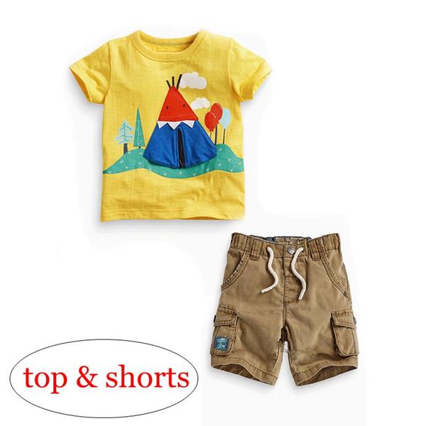 retail ins summer short sleeved boys yellow tent print tshirt & kids khaki cotton shorts with belts pp pants 2pcs set