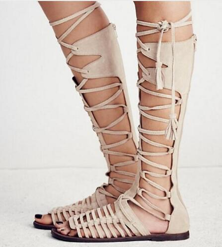 2018 Suede Knee Boots Women Open Toe Cross Strap Flat Gladiator Sandals Woman Sexy Knight Boots Summer