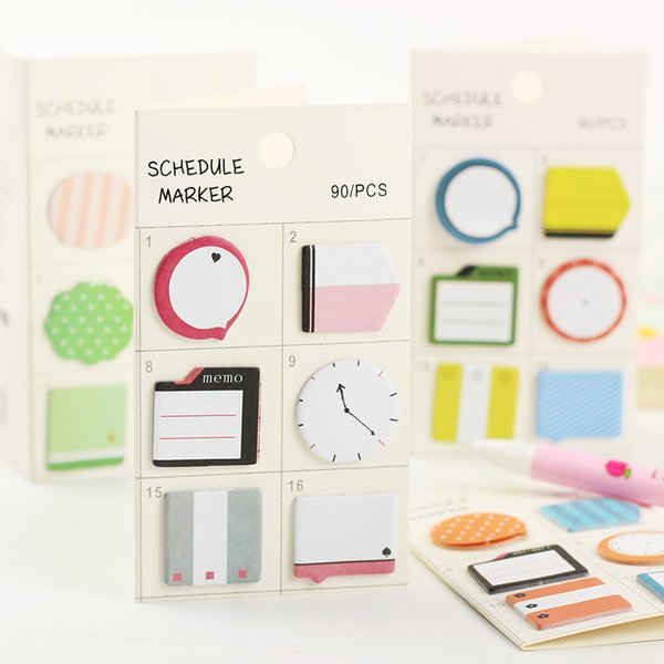 1PC Fresh Style Schedule Marker Self Adhesive Memo Pad Sticky Notes Bookmark Planner Stickers Office Stationery