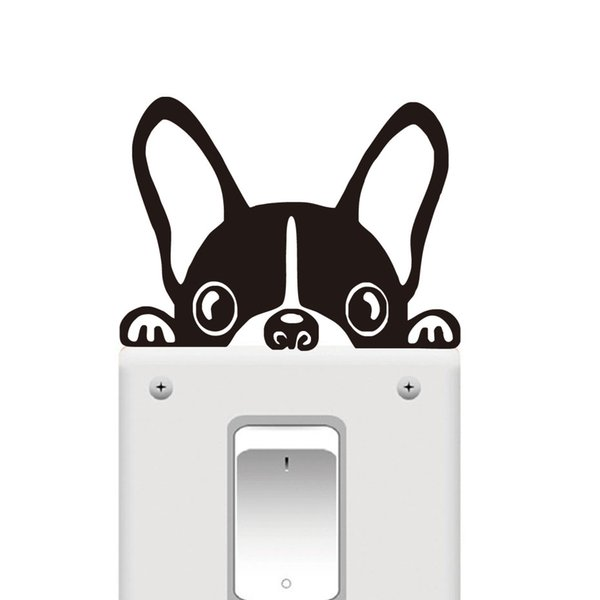 DCTOP Funny French BULLDOG Cat Light Switch Sticker Animal Waterproof Wall Art Decal Vinyl Stickers For Kids Bedroom Home Decor