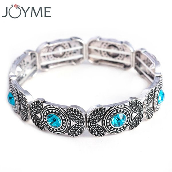 whole saleJoyme Brand New Women Vintage Charm Stretch Bracelets & Bangles Adjustable Beaded Strand Retro Marcasite Bracelet Bijoux Femme