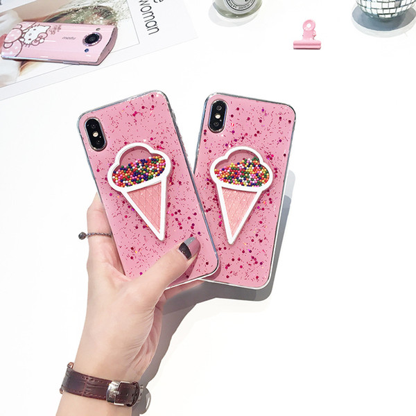 For IPhone X Cellphone Cases Glitter Flowing Ice Cream Soft TPU Back Cover For iphone 7 8plus 6 6s plus Mobile Phone Shell Case Free DHL A79