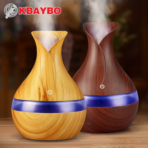 KBAYBO 300мл USB электрический диффузор ароматических эфирных масел Ультразвуковой увлажнитель воздуха Wood Grain LED Lights аромат диффузора для дома
