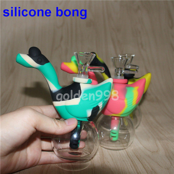 Newest Swan silicone water pipes 10colors glass water pipes bubbler oil rig bongs hookahs silicone dab rigs glass bowl DHL