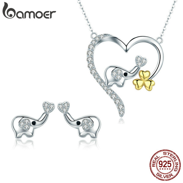 2-Piece Set High Quality 925 Sterling Silver Elephant Cute Animal Necklace Stud Earring Anniversary Valentine's Day Jewelry Gift