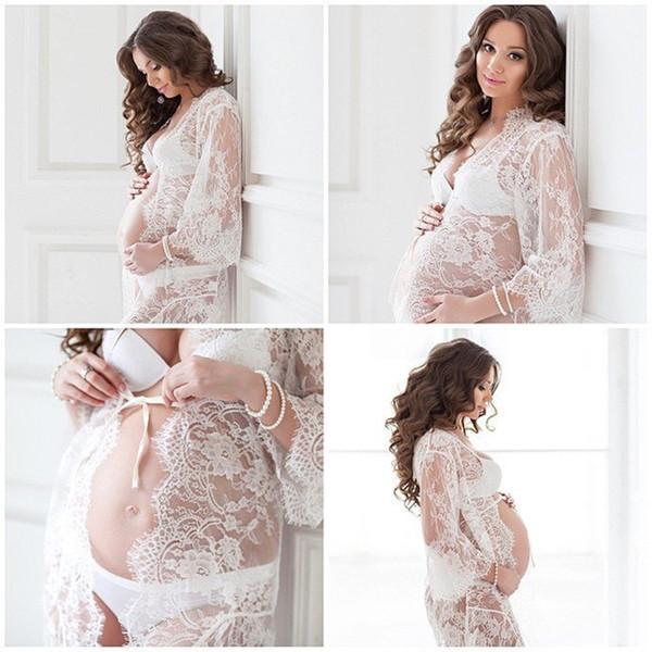 Le Couple White Lace Maternity Dress Eyelashes Lace Pregnancy Dress Maternity Potography Props Maternity Clothes Nightdress Sleepwear