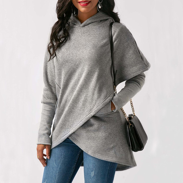 Artı Cepler Siyah Kırmızı Mavi Gray'le Boyut Kadınlar Hoodie Sweatshirt Uzun Kollu Asimetrik Hem Kapüşonlular Wrap Kazak Kazak Coats