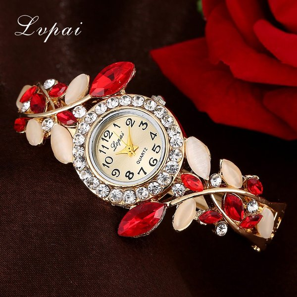Fashion Vintage Women Dress Watches Colorful Crystal Women Bracelet Watch Wristwatch Casual Gift Dress Clock Red Watches