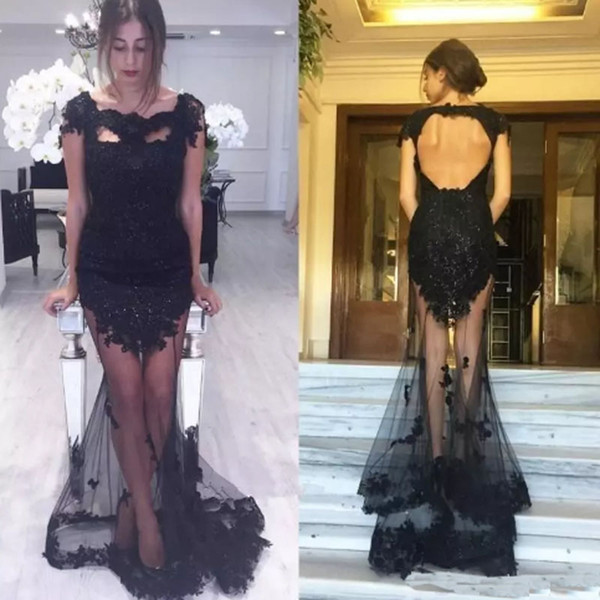 New Design Sexy Lace Applique Prom Dresses Short Sleeve Women's Evening Dresses Custom Made Formal Occasion Wears