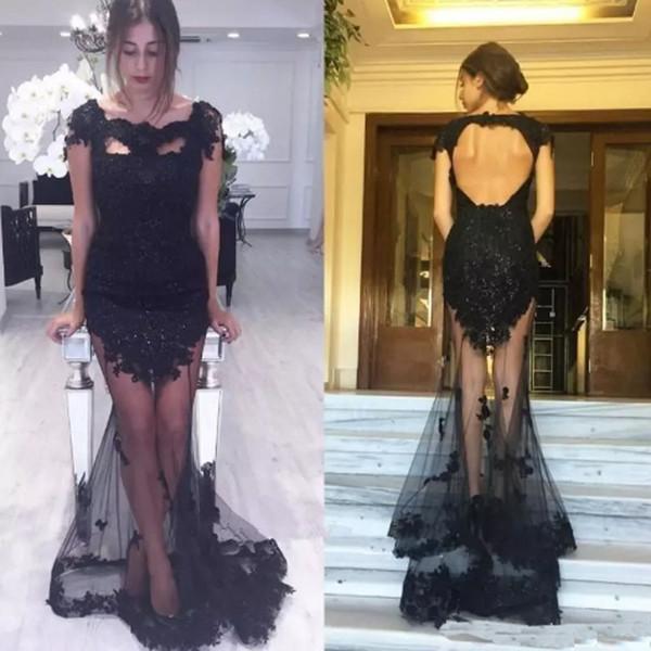 Neue Design Sexy Spitze Applique Prom Kleider Kurzarm Frauen Abendkleider Nach Maß Formale Gelegenheit trägt