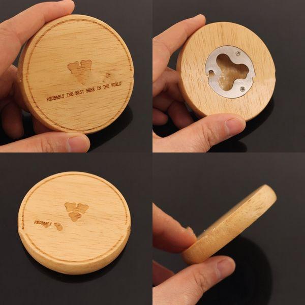 Wooden Round Shape Drinks Beer Bottle Opener Fridge Magnet Gift With Custom Logo Creative Coaster Home Decoration 5hz hh