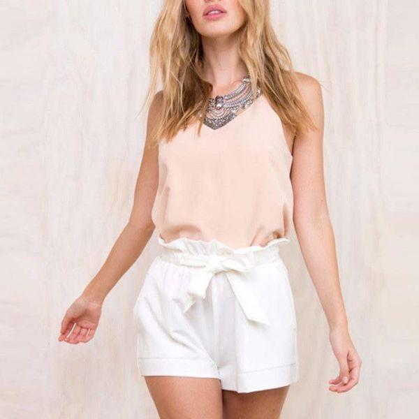 Las mujeres ocasionales más el tamaño de los pantalones cortos de cintura alta sueltan los remiendos del remiendo del arco de moda del pantalón corto de la correa de la colmena femenina Lady 2018