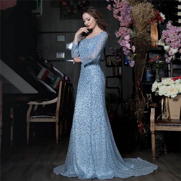 2018 Shinning Blue Bead Tulle Long Evening Dresses Long Sleeves