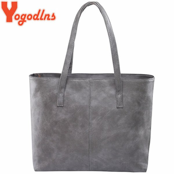 Yogodlns bag 2018 fashion women leather handbag brief shoulder bags gray /black large capacity luxury handbags tote bags design Y18102003