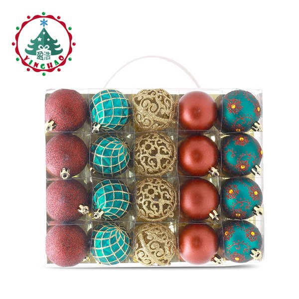 inhoo 6cm Christmas tree decorations Balls Ornaments Pendant 20pcs Red green white gold Ball Accessories For Home Xmas Party Hot