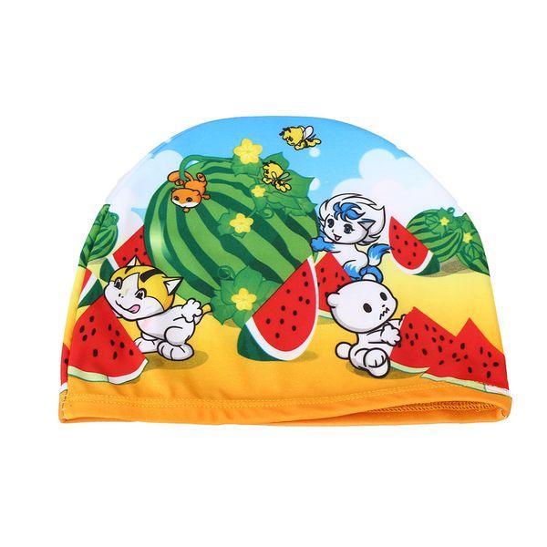 Flexible Colorful Printed Swimming Cap Waterproof Bathing Protector Children