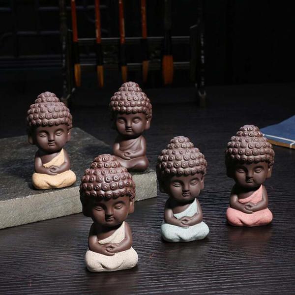 Decorazioni per la casa Set da tè Carino Piccola statua del Buddha Monk Figurine Mandala Tea Pet Resina Artigianato Ornamenti decorativi in ceramica all'ingrosso