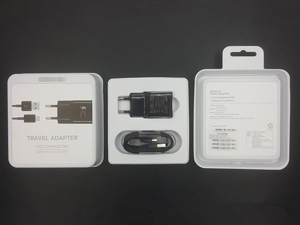 Original OEM Black/White Fast Travel Adapter Wall Charger + Type-C Cable With Retail Packaging For Samsung Galaxy S8 S8 Plus Moto Z C9 Pro