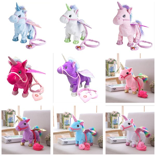 Electric Walking Unicorn Plush Doll Toys Stuffed Animal Toy Electronic Music Singing Unicorn Toys with Rope for Kids Christmas Gifts 30CM