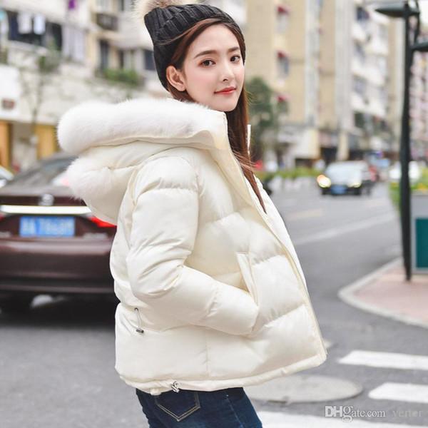Oversized Coats White Winter Jacket Women Short Parkas Cotton Wadded Thick Warm Womens Winter Coats Hooded Cute Parka Coat C3616