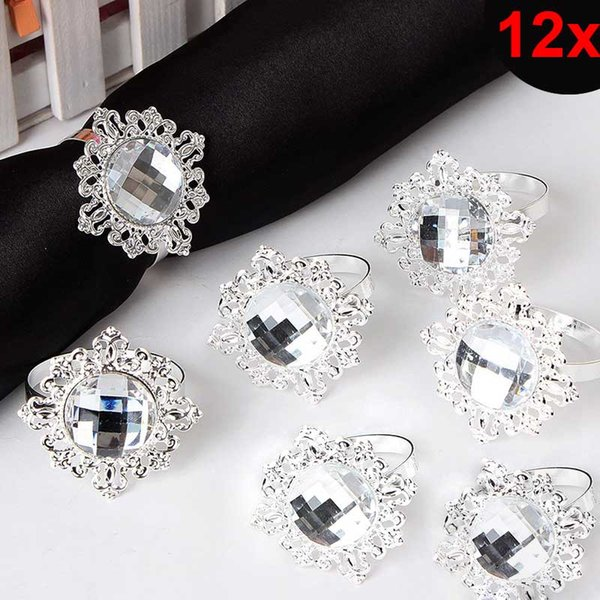 12pcs Bling Acrylic Napkin Rings Napkins Holder Wedding Party Banquet Dinner Christmas Decor Favor For Drop Shipping