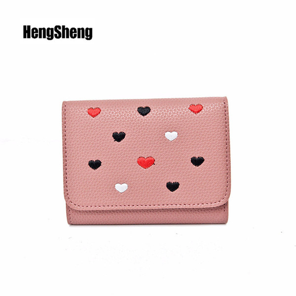 New Ladies Short Wallet Exquisite Pattern Design Ladies PU Leather Coin Purse Fashion Casual Card Package Loving Female Clutch