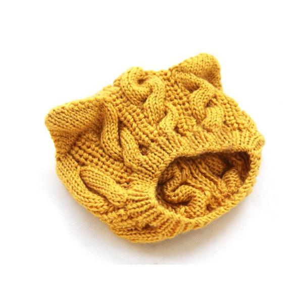 Dama de la moda Niñas Invierno lana hace hotspot gato oreja sombreros Beanie Lindo diablo cuernos ganchillo trenzado nieve gorras amarillo