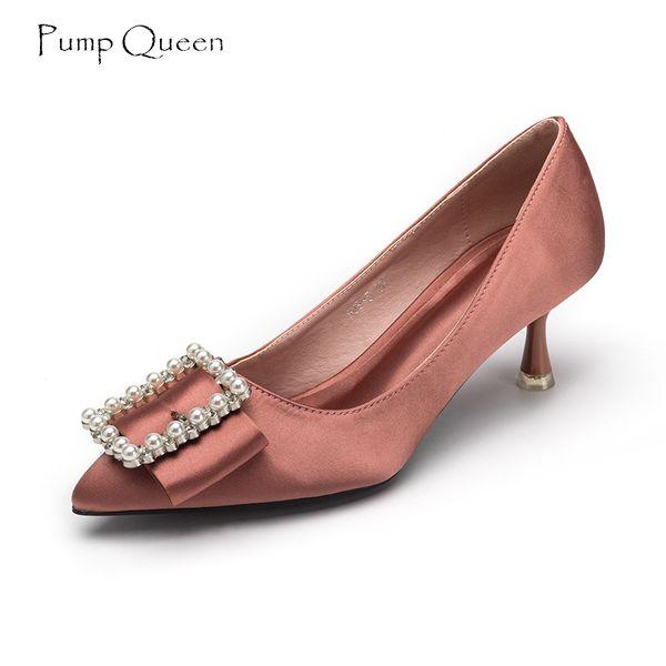 Acheter PumpQueen Femmes Pompes 5cm Talons Tendance Chaussures Femme Perles  Décoration Élégante Satin Dames Chaussures Pointu Toe Sapato Feminino De