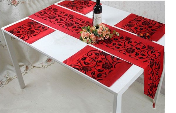 Table Runner plate mats table mats Cloth Wedding Decor Raised Flower Blossom Flocked Damask
