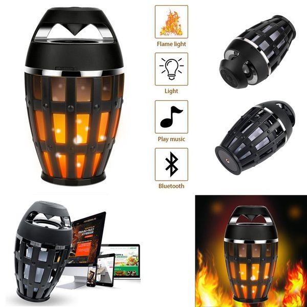 LED Llama Fuego Altavoz Bluetooth Estéreo Portátil Hifi Cradle Parpadeo Inalámbrico Antorcha Altavoz para teléfono celular Iphone 8 x Samsung Camp lámpara