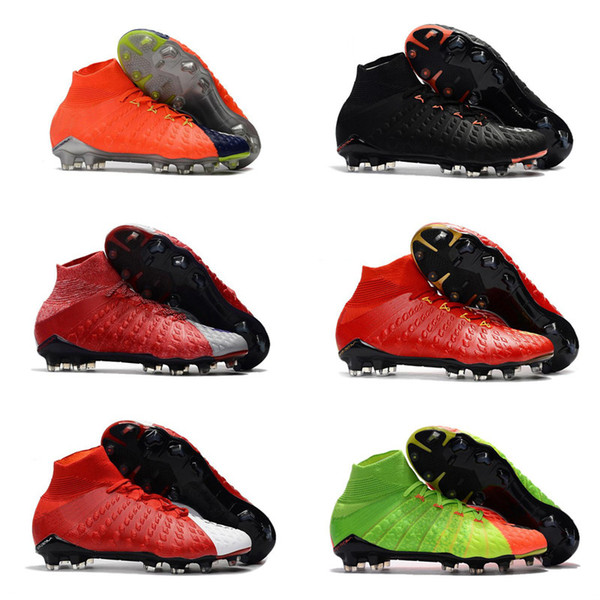 New Arrived High Ankle Top Football Boots Hypervenom Phantom III DF FG ACC Soccer Cleats HypervenomX Proximo TF IC Indoor Soccer US6.5-11