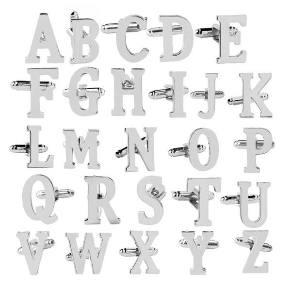 top popular A~Z Design 26 Silver Letter Cufflinks Men French Shirt Cuff Links For women bride Fashion Wedding Jewelry Gift 2021