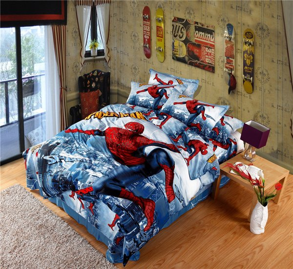 Super Hero Cotton Bedding Sets Cartoon Printed Spiderman Duvet Cover Set  Bed Sheet 4pcs For Children