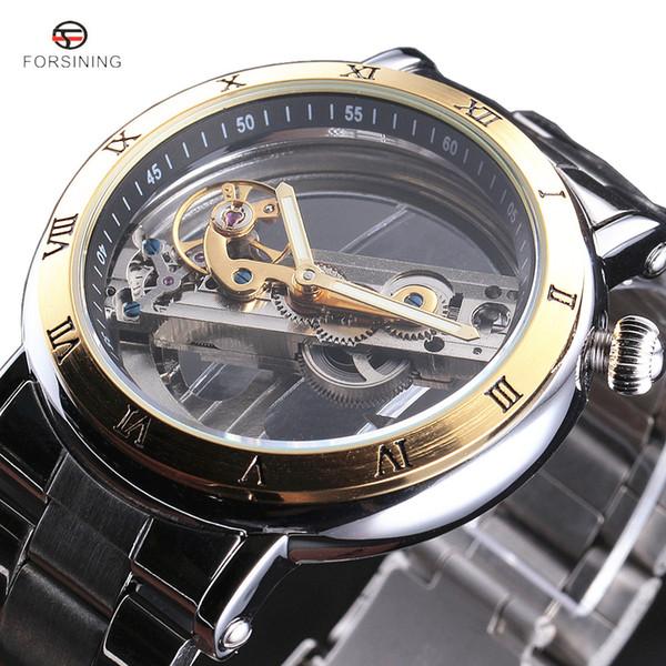 2017 FORSINING New Fashion Luxury olden Bridge Skeleton Automatic Mechanical Stainless Steel Strap Men Wrist Watch