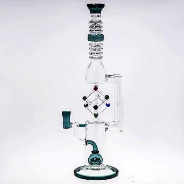 Günstige Geschenkbox Glas Bong mit Kegelstück Abtupfen Ölplattformen Dicke Baisc Recycler Bongs Perc Rauchen Rohre