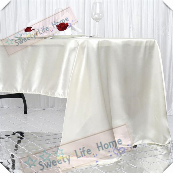 Hotsale Free shipping 10pcs Ivory 145cm*305cm Rectangle satin table cloths table cover polyester spread for Christmas party event