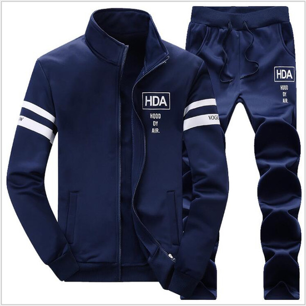 New Autumn Men Set Fashion Brand Casual Camouflage Sporting Suits Fleece Lined Spring Mens Sportswear Male Tracksuit