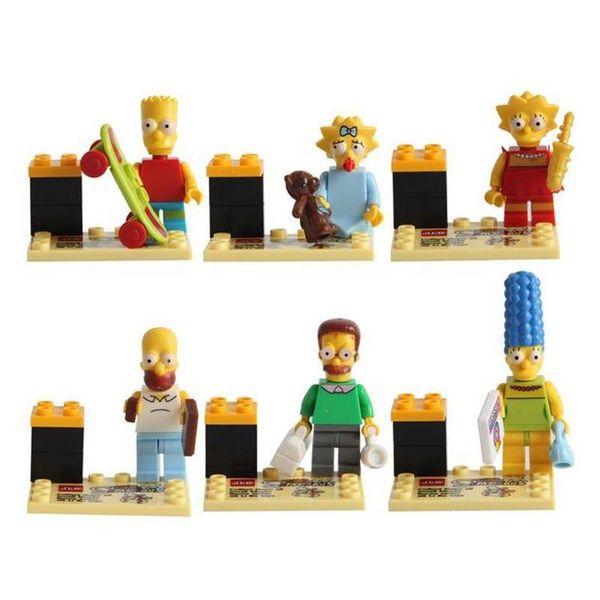 5*4.5*3CM Simpson Building Block Puzzle Marvel Toys Mini Figures Homer Marge Bart Lisa Maggie Cartoon Movie DIY Toys Funny Sets